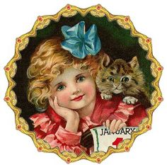 CHILD WITH CAT IN GOLD ROUND FRAME Vintage Cat, Shabby Vintage, Vintage Girls, Vintage Children, Vintage Bookmarks, Vintage Labels, Vintage Ephemera, Victorian Christmas, Vintage Christmas