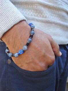 Men's Rocker Bracelet with Semi Precious Crackle by tocijewelry