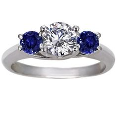 18K White Gold Three Stone Diamond and Sapphire Trellis Ring from Brilliant Earth Potential setting