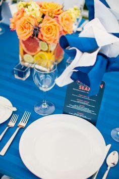 Nautical place setting: http://www.stylemepretty.com/new-hampshire-weddings/2014/11/14/new-hampshire-lakeside-wedding/ | Photography: Mikhail Glabets - http://mikhailglabets.com/