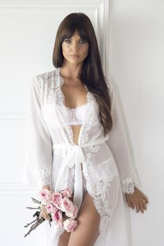 Bridesmaid robes, white robe, bridal robe.  With our new Helena robe you will embody your sultry yet sophisticated sense of style. Semi-sheer white chiffon adorned with elegant lace rosettes. Bridesmaid robes, white robe, bridal robe