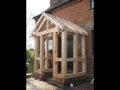 oak frame porch Porch Uk, House With Porch, Front Porch Design, Front Porches, Beam Structure, Veranda Design, Gazebo, Entrance, Brick