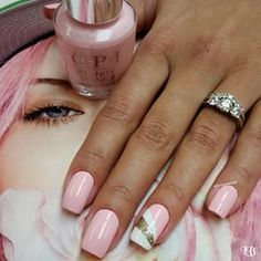 Pretty pink nails + cute ring