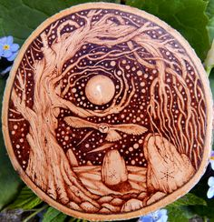 'Moonflight'     Pyrography on Applewood            G.M.R 2015