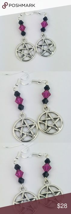 BOG2FREE Swarovski Crystal Pentagram Earrings Stunning Black and Purple Swarovski Crystals with Tibetan Silver Pentagram charms on all .925 Sterling Silver hardware.   Only pair of its kind! Look for a matching black jasper bracelet here in my closet.   Magen's Fairytale Creations original handmade by me. Magen's Fairytale Creations Jewelry Earrings