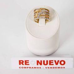 #Anillo# ancho# de oro# de 18 kts# de segunda mano# con circonitas# E269717B#segundamano#
