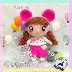 ♡ Crochet doll with mouse ears. A Lovely girl, her name is PinkQ. ❤ (Inspiration).
