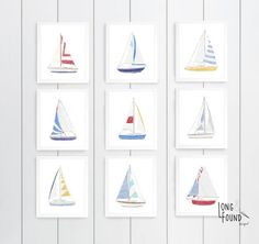 Sailboat Nursery, Sailboat Art, Nautical Nursery, Nursery Art, Nursery Decor, Nursery Design, Nautical Wall Art, Wall Decor, Sailboats
