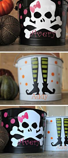 Spruce up an old Halloween bucket with cute skulls and witch feet! | trick or treat | DIY Halloween craft