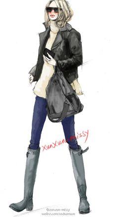 【控首饰】 xunxun-missy 手绘冬季时装插画