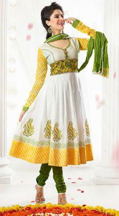 USD 79.3 White Embroidered Cotton Anarkali Salwar Kameez 27419