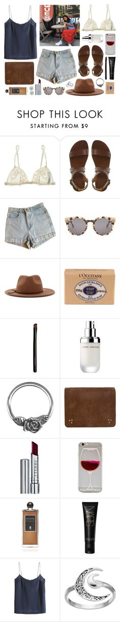 """""""Santal Majascule"""" by sophiehackett ❤ liked on Polyvore featuring La Perla, American Apparel, Komono, Forever 21, L'Occitane, Marc Jacobs, Jérôme Dreyfuss, By Terry, Serge Lutens and H&M"""