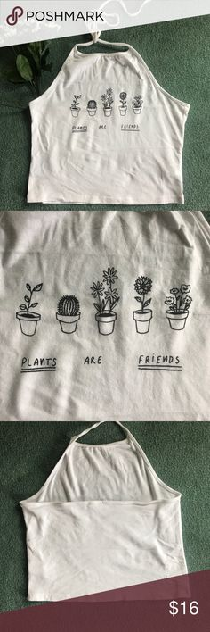 """John Galt """"Plants are Friends"""" Halter Show your love for all living things with this halter from John Galt/Brandy Melville! Super soft and excellent condition. One size. Brandy Melville Tops Crop Tops"""