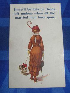 WW1 Bamforth Comic Postcard 1914 18 Bulldog Ladies Fashion LOTS OF THINGS UNDONE