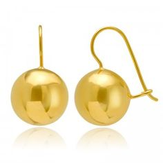Simply Bright Golden Ball Earrings (Medium) - MettaGems | Natural Gemstone Jewelry, Direct from manufacturers