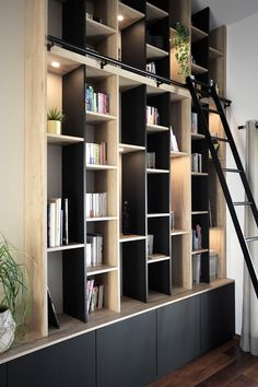 Home Library Rooms, Home Library Design, Home Room Design, Office Interior Design, House Design, Living Room Tv Unit Designs, Shelving Design, Small Apartment Design, Living Room Shelves