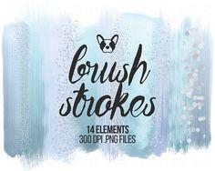 Pastel Brush Strokes Clip Art, Sky Blue Brush Strokes Glitter Clipart, Brush Clipart, Watercolor Brush, Scrapbooking Clipart, Design Clipart