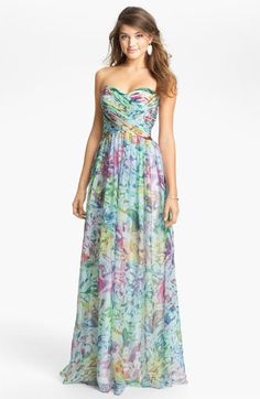La Femme Print Strapless Maxi Dress available at #Nordstrom