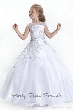 2016 Cheap Crystal Short Sleeves Flowergirl White Flower Girl Dresses Gowns Little Girls Pageant Dresses Size Little Pageant Gowns for Girls