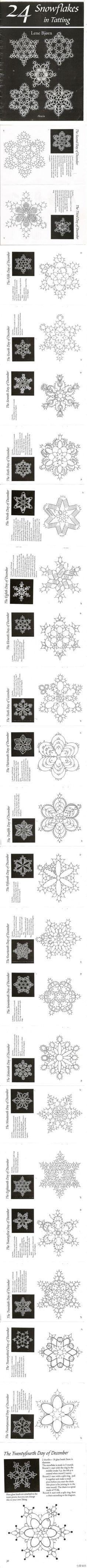 #24 snowflakes in tatting# 24种梭编雪花。(只发图的感觉好清爽=。=