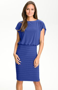 looks pretty and comfortable - Adrianna Papell Blouson Shutter Pleat Jersey Dress | Nordstrom