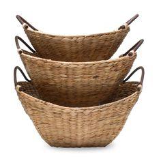 Bamboo and Hyacinth Baskets Set.