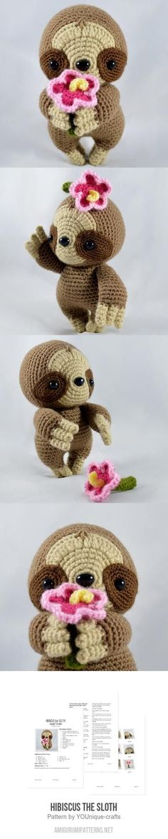 Hibiscus the Sloth amigurumi pattern