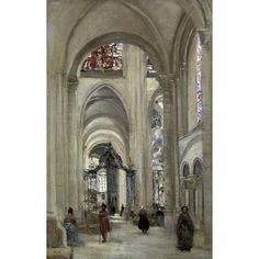 Interior Of The #Gothic Sens Cathedral by Jean-Baptiste-Camille Corot Architecture Art.