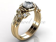 14k yellow gold diamond unusual unique flower engagement ring, bridal ring, wedding ring, flower engagement set.  Mysterious and sensual flowers are one