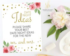 Get the party started with fun 'Date night ideas' game! This game is the perfect ice breaker for any bridal shower or bachelorette party. #printable #bridalshower #bridalshowergames #bridalgames #bridalshowerstationery #bridalstationery #bachelorette #bachelorettegames #bachelorettepartygames #SHdesigns