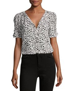 Amone+V-Neck+Silk+Top,+Black/White+by+Joie+at+Neiman+Marcus.