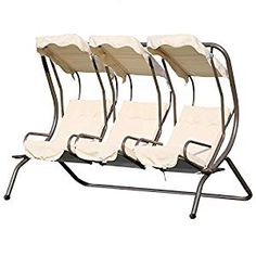 Outsunny Swing Chair W/ Removable Canopy and Cup Trays, Steel Frame-Beige Garden Swing Seat, Patio Swing, Garden Canopy, Outside Furniture, Rattan Furniture, 3 Seater Swing, Outside Swing, Canopy Swing, Canopy Cover