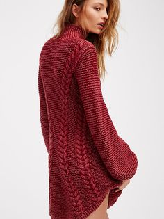 FP Back To Back Knit Sweater Turtleneck Mini Dress (Deep Red)