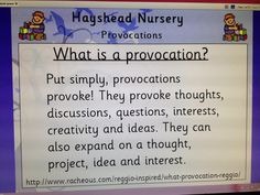 A useful definition of a provocation in children's learning. Would definitely change the layout but I appreciate the text the have. Inquiry Based Learning, Project Based Learning, Learning Centers, Early Learning, Reggio Emilia Classroom, Reggio Inspired Classrooms, How Does Learning Happen, Emergent Curriculum, Learning Stories