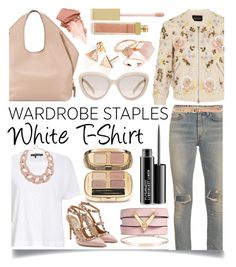 """Wardrobe Staple: White T-Shirt"" by ittie-kittie ❤ liked on Polyvore featuring rag & bone/JEAN, Needle & Thread, Valentino, DIANA BROUSSARD, Yves Saint Laurent, Thomas Sabo, Tom Ford, Dolce&Gabbana, MAC Cosmetics and AERIN"
