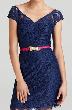 blue lace. hot pink and gold bow belt. perfect