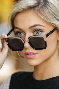 Quay x Jaclyn Hill Upgrade Gold And Black Sunglasses Top Sunglasses, Trending Sunglasses, Sunnies, Quay Glasses, Diva Fashion, Trends, Eyewear, My Style, Shades