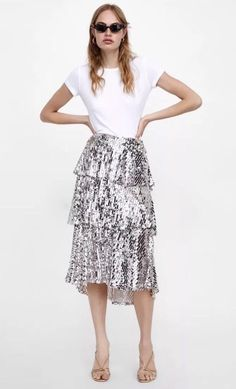 4fa02d614 BNWT ZARA SEQUINNED RUFFLED SKIRT SILVER SIZE Small REF. 7554/759 #fashion #