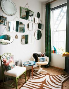 Vintage mirror feature wall