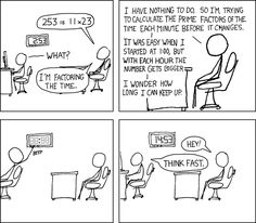 """Factoring the Time  """"Also fun to do with mile markers on the highway""""  -xkcd"""