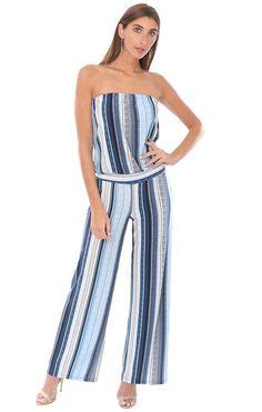 Veronica M Jumpsuits Strapless Drop Waist Striped Long Wide Leg Blue a3aeb2661