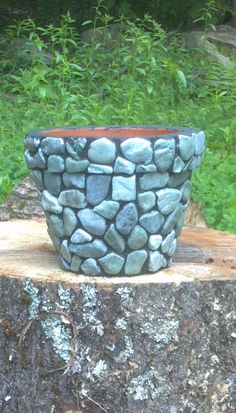 Stone crafted flower pot #EasyPin