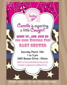 Cowgirl Brown Cream and Pink Bandana - baby girl shower invitation - western theme - PRINTABLE INVITATION DESIGN. $15.00, via Etsy.