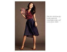 Cowl neck blouse and knee-length swingy skirt makes a cute and comfortable outfit.