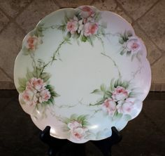 Limoges Pink Cabbage Roses Display Plate SIGNED Scalloped Edge