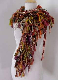 Tattered  Recycled Sari Silk  Scarf  Collar Capelet Mini  Wrap Autumn Woodland