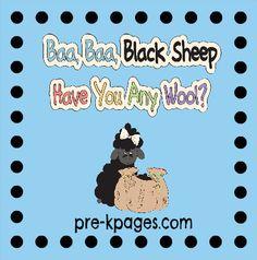 Baa Baa Black Sheep Nursery Rhyme literacy pack  Ideas and Activities via www.pre-kpages.com
