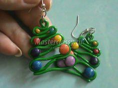 Christmas tree earrings сережки из пластики новогодняя елочка