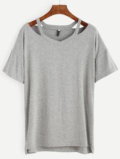 Heather Grey Cutout Drop Shoulder High Low T-shirt