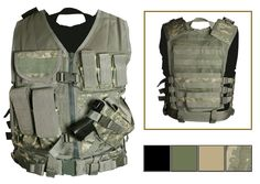 Tactical vests available in two sizes and four colors - Black , OD Green, Digital Camo and Derset Tan
